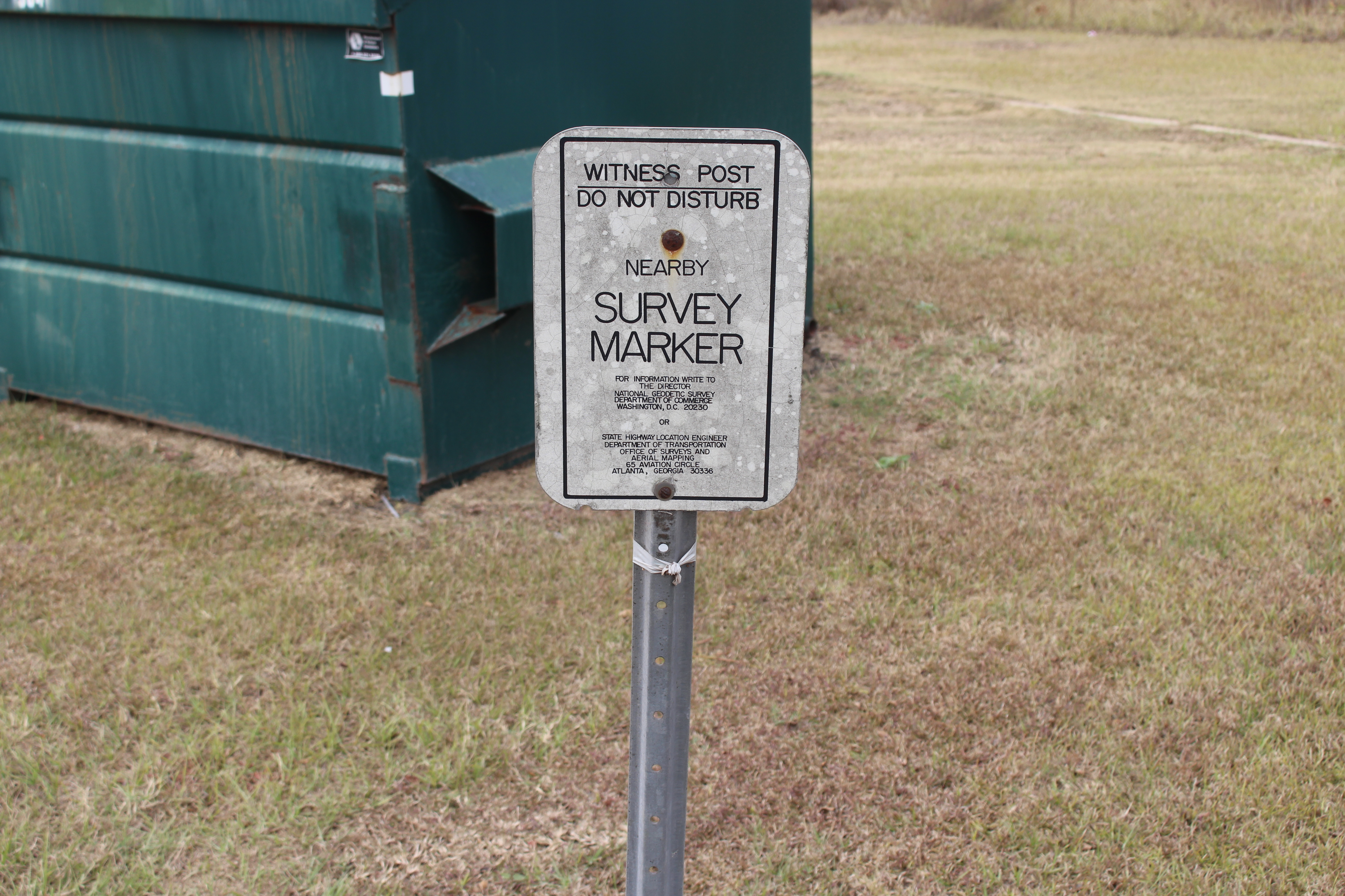 File Witness Post Survey Marker Sign For E 315 Geodetic Tifton