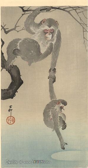 'Monkey with her child' by Ohara Koson.jpg