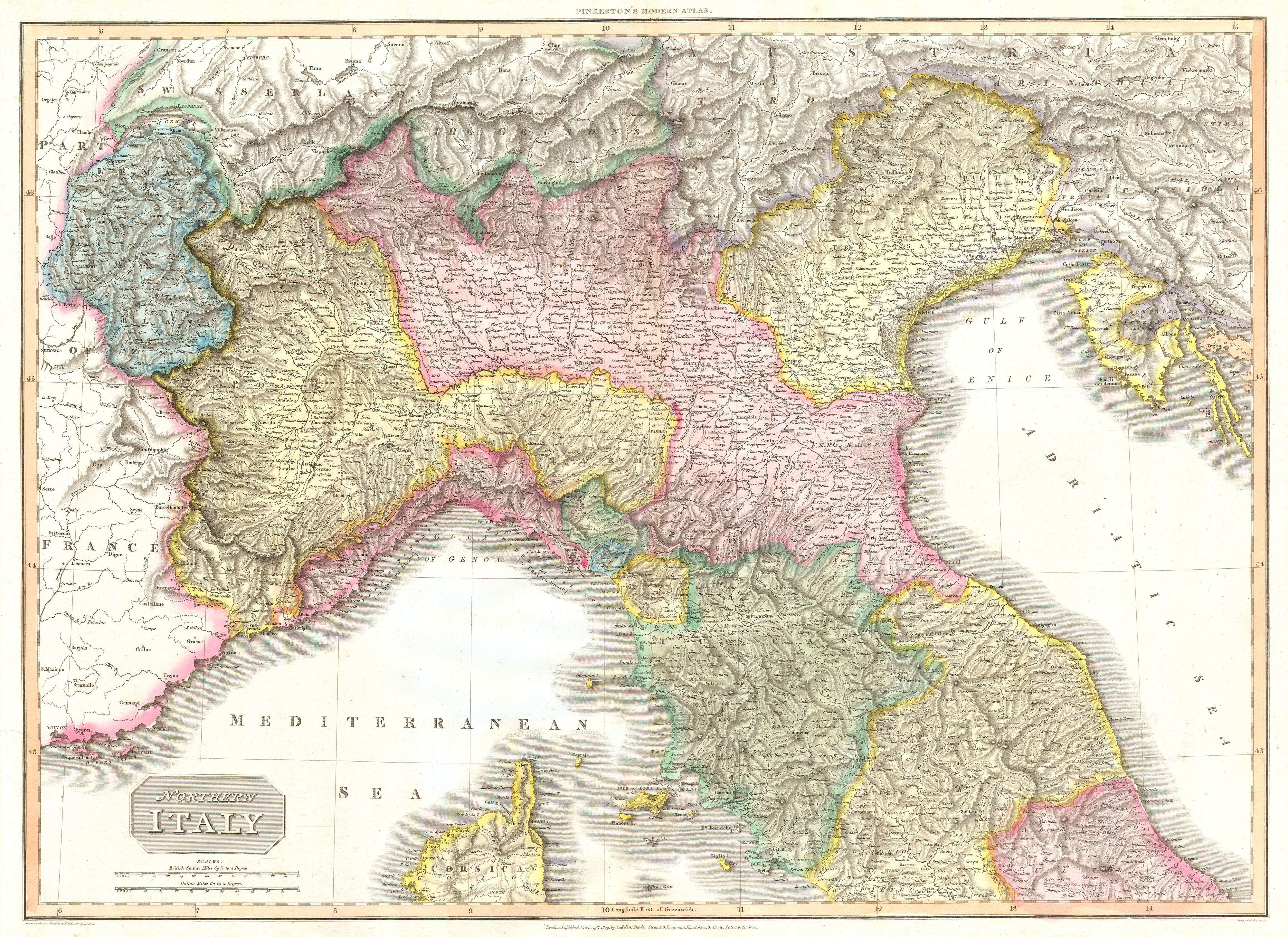 Map Of Northern Italy File:1809 Pinkerton Map of Northern Italy ( Tuscany, Florence  Map Of Northern Italy