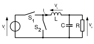 Fig. 8: Simplified schematic of a synchronous converter, in which D is replaced by a second switch, S2.