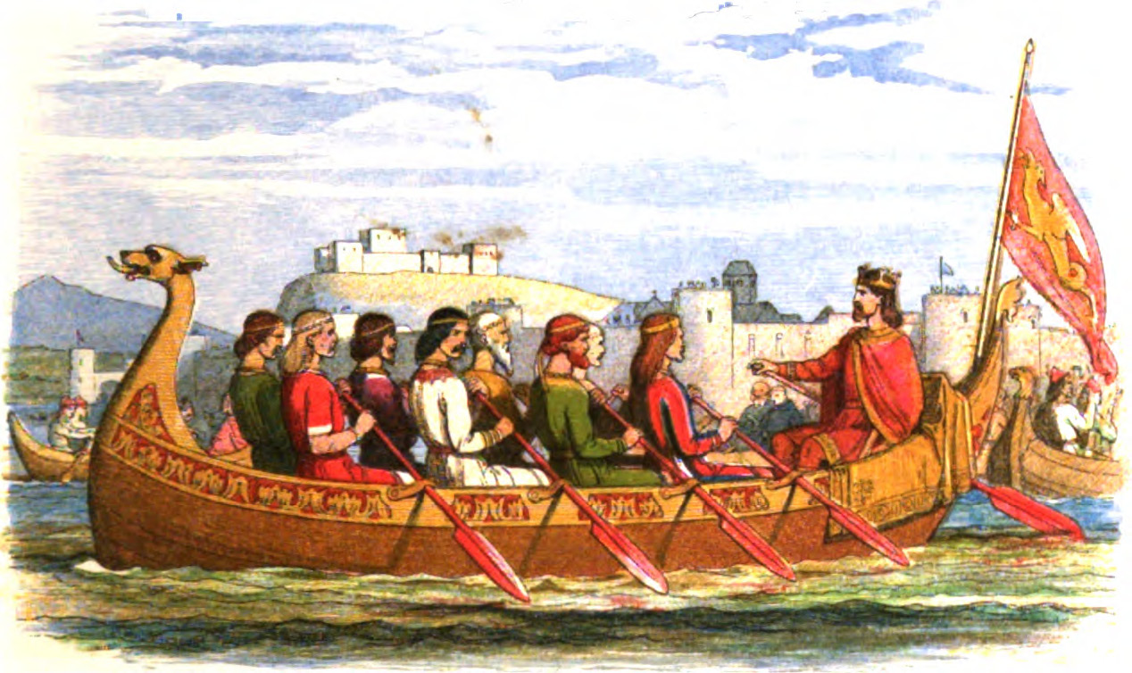 Edgar being rowed on the Thames by kings