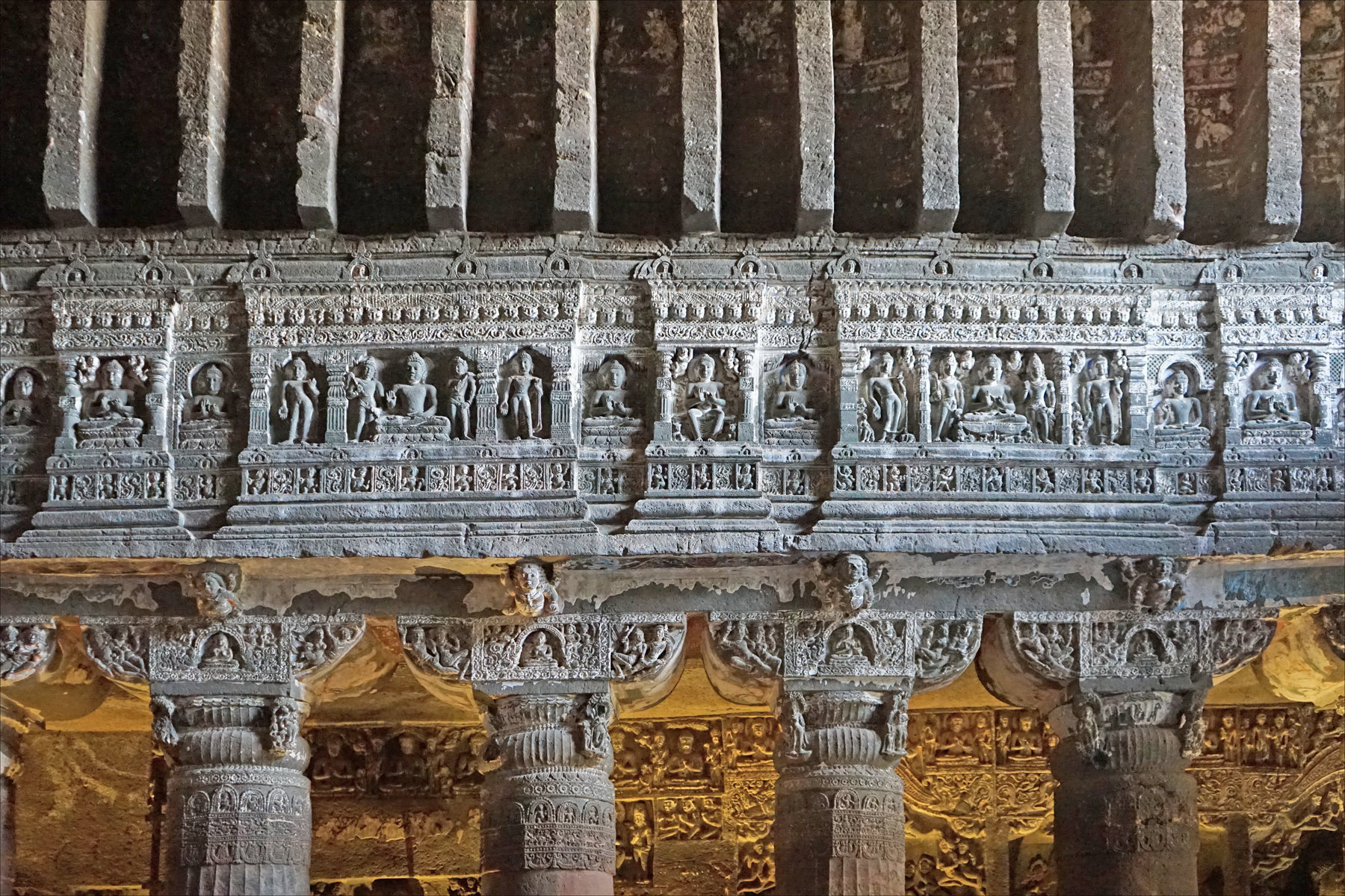 file ajanta cave 26 pillar capitals jpg wikimedia commons