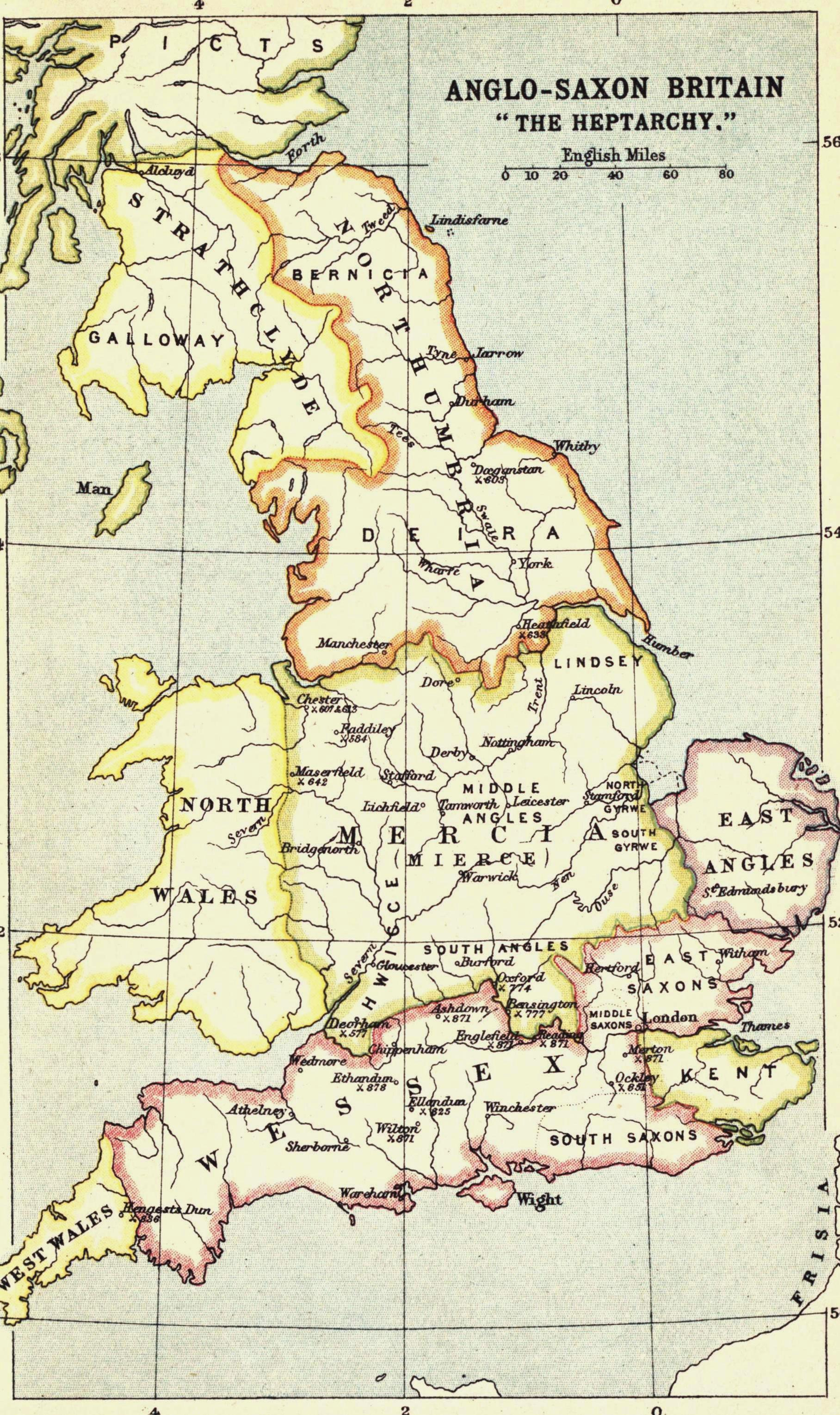 Map Of England In 9th Century.Heptarchy Wikipedia