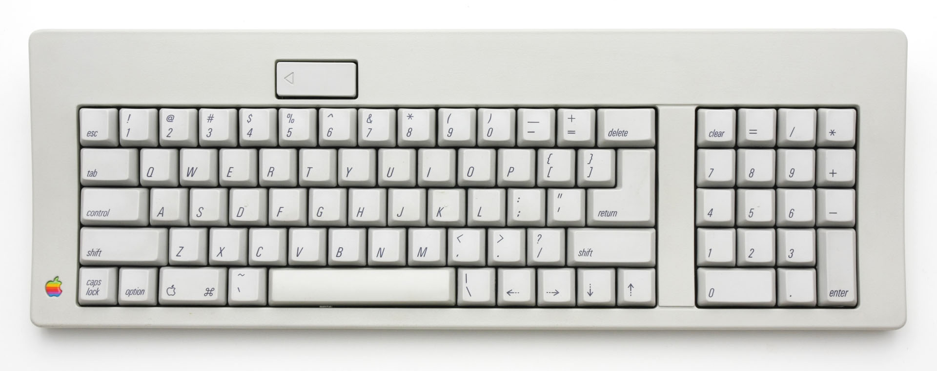 Apple's Standard Keyboard from the mid 1980s, with Control and Caps Lock roughly switched    compared to today's standard layout.