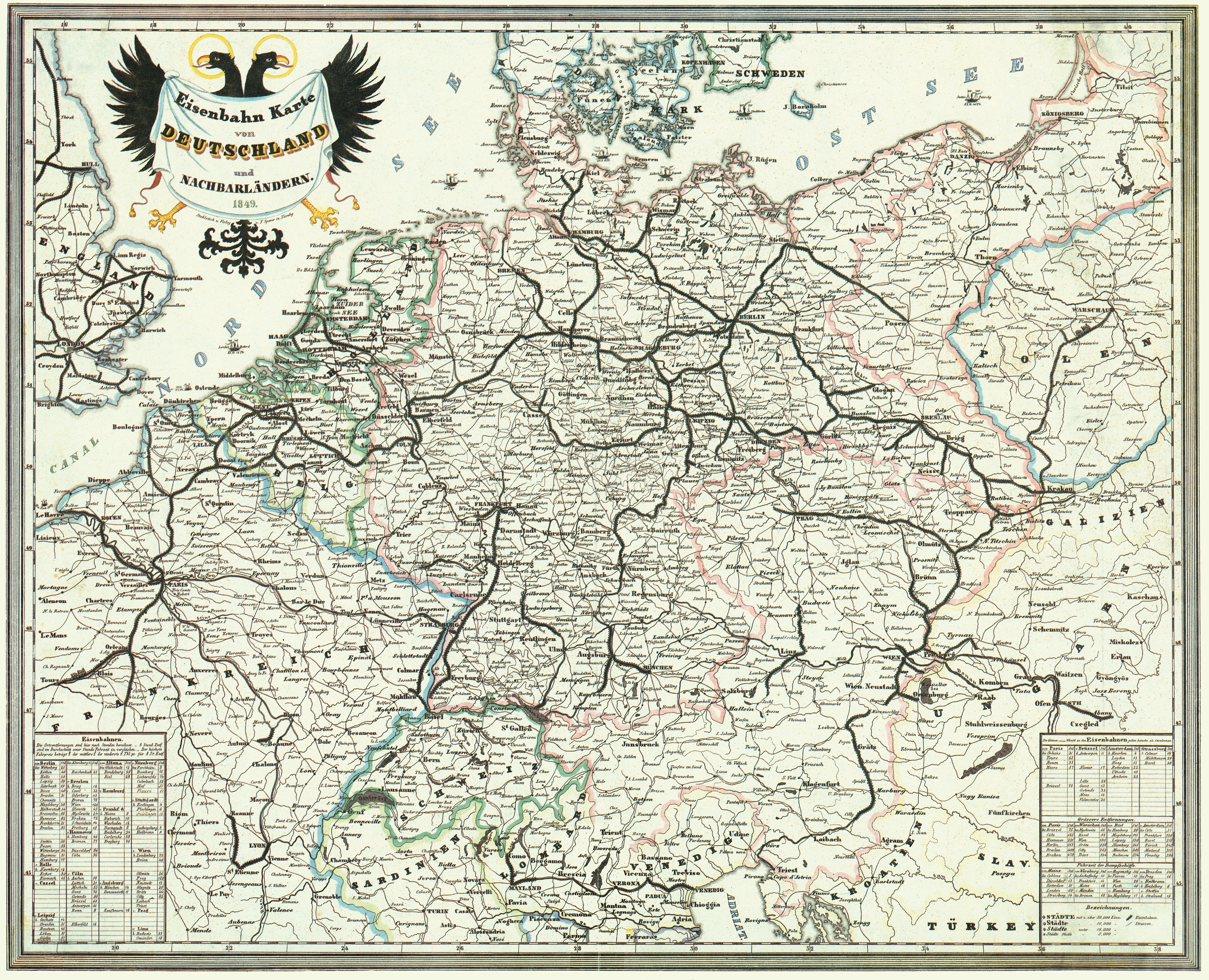Map Of Germany With Neighbouring Countries.The Railroad System Of Germany And Neighbouring Countries From 1849