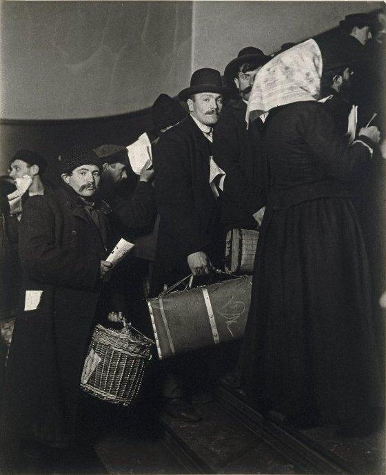 Arriving at Ellis, circa 1908 (photo by Lewis Hine)