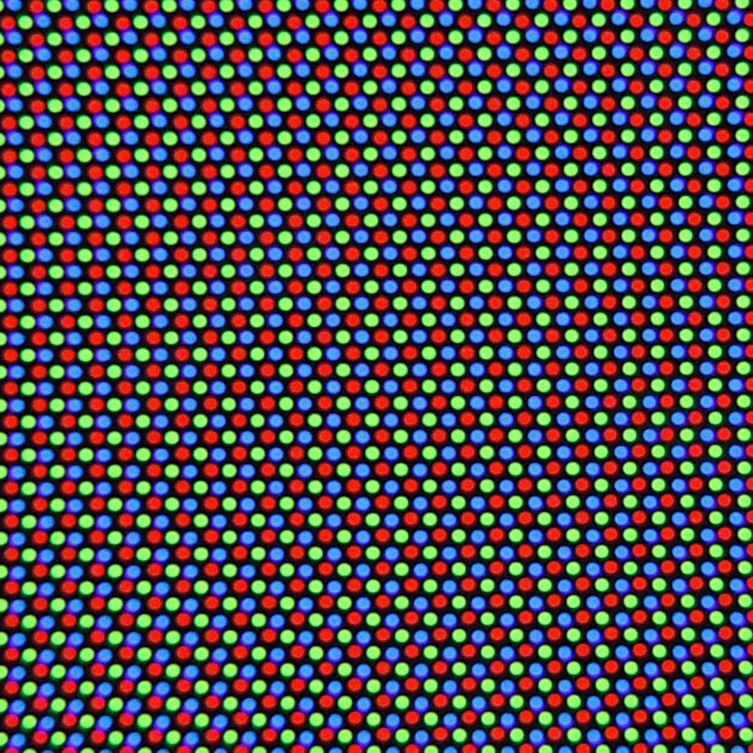 Magnified view of a shadow mask color CRT