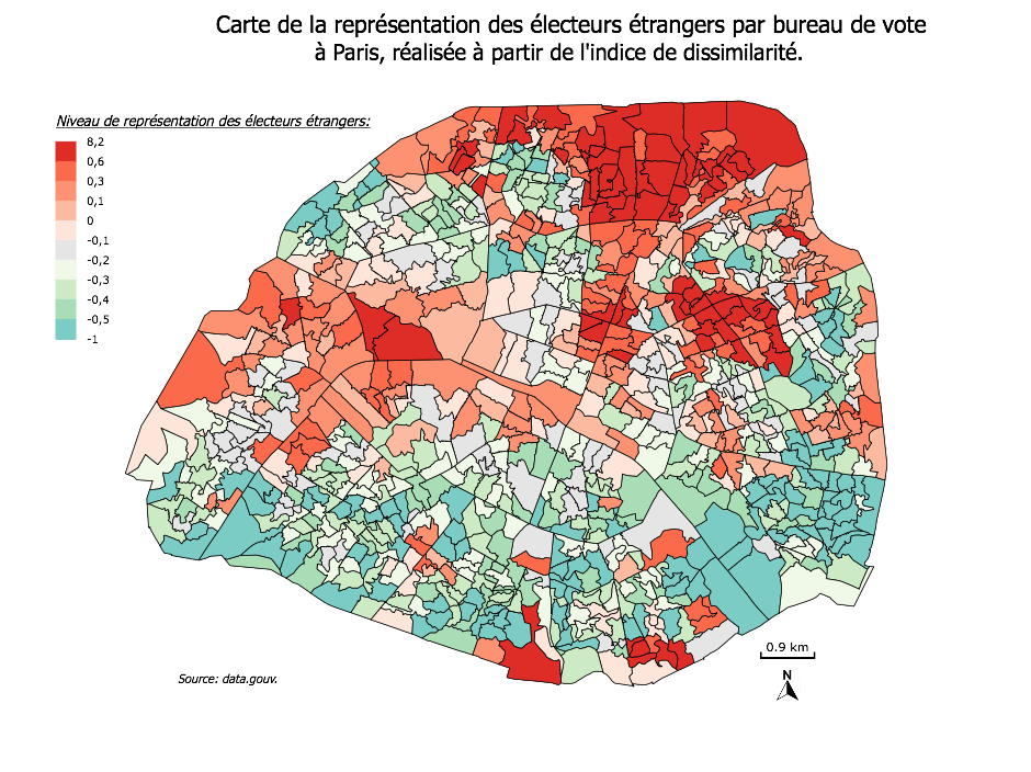 Concentration of foreign voters concentrated in Paris (red more, green less).