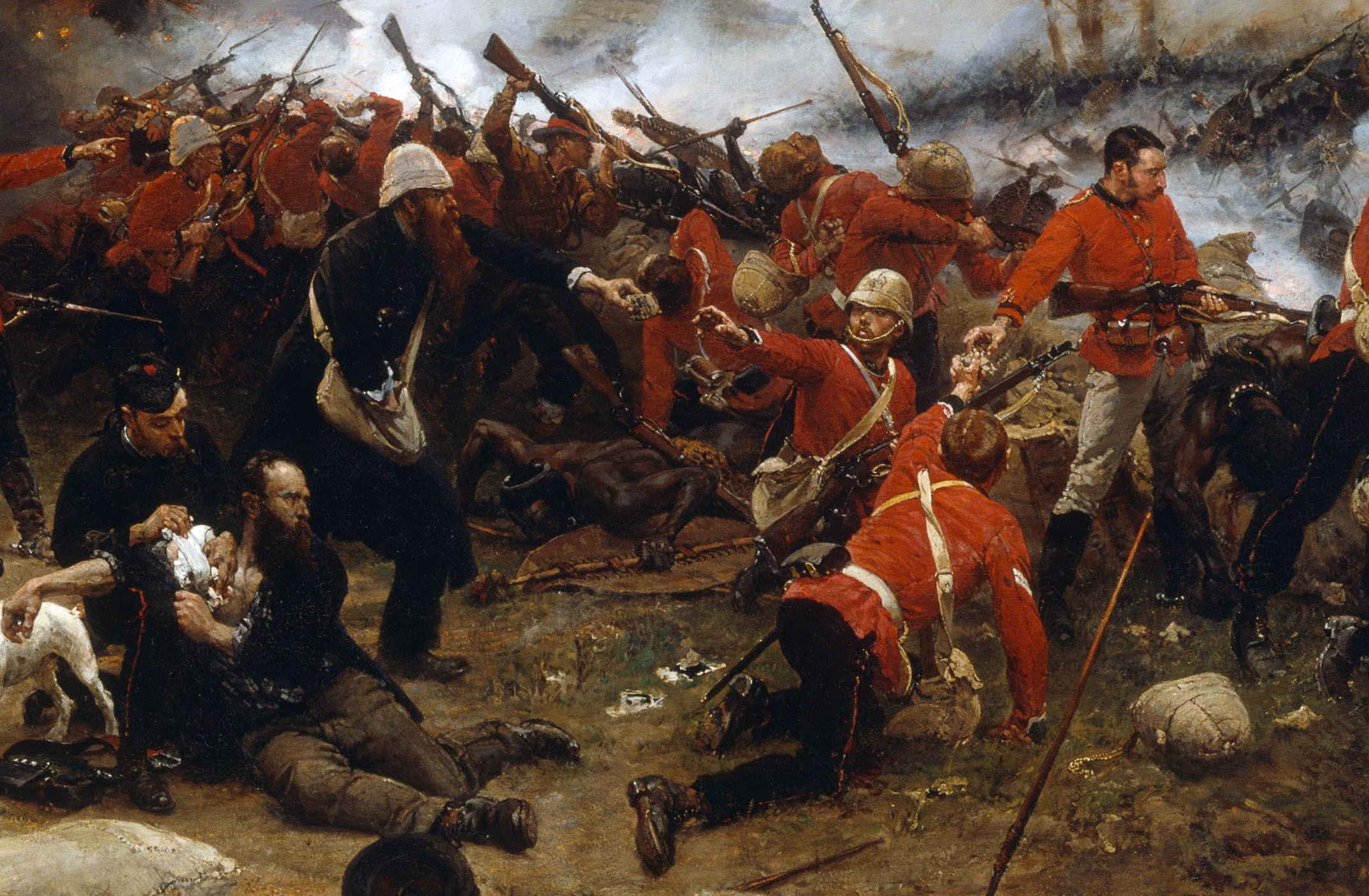 The defence of Rorke's Drift during the Anglo-Zulu War of 1879.