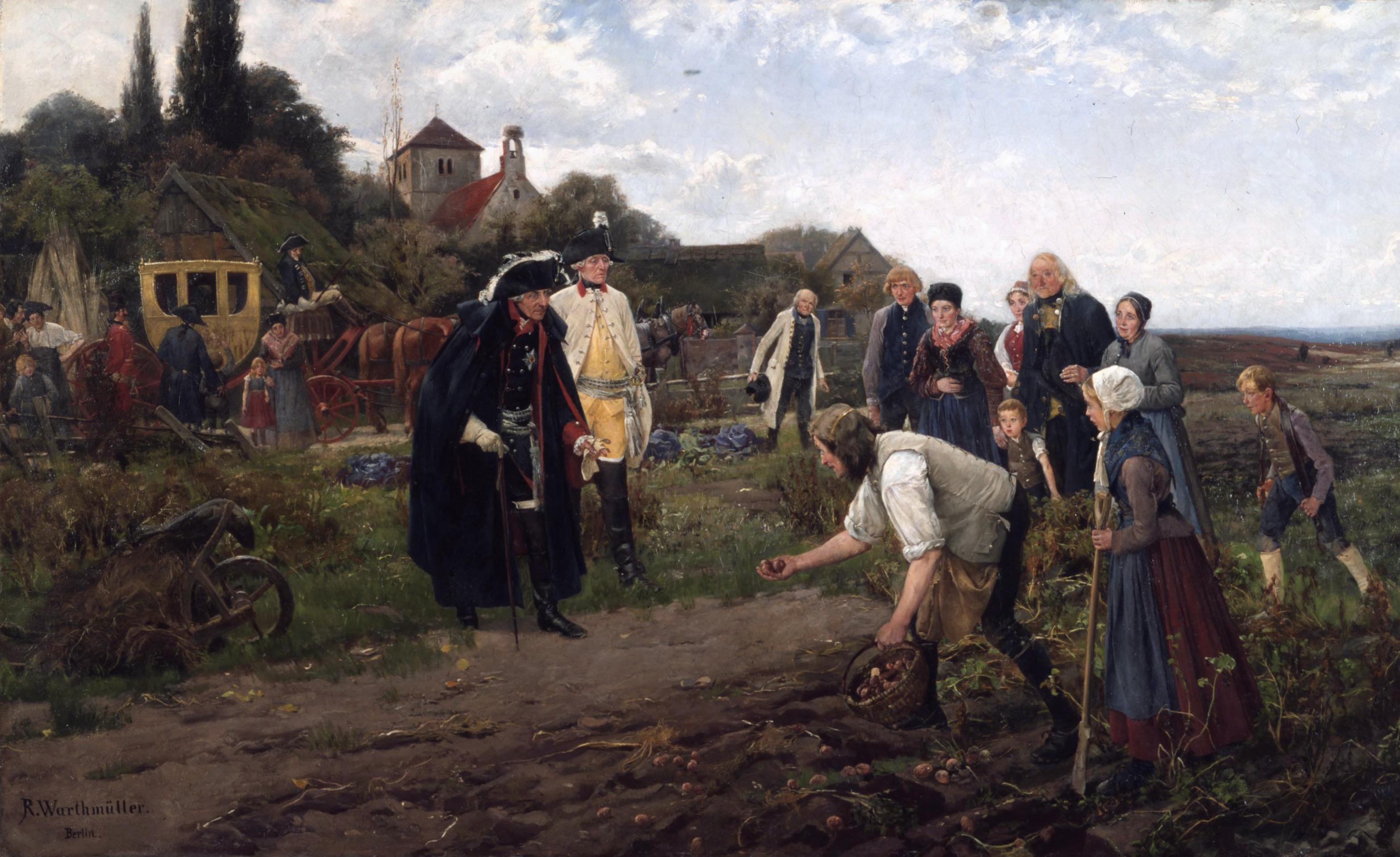 König Friedrich II. auf einer seiner Inspektionsreisen, begutachtet den Kartoffelanbau (Gemälde von 1886)