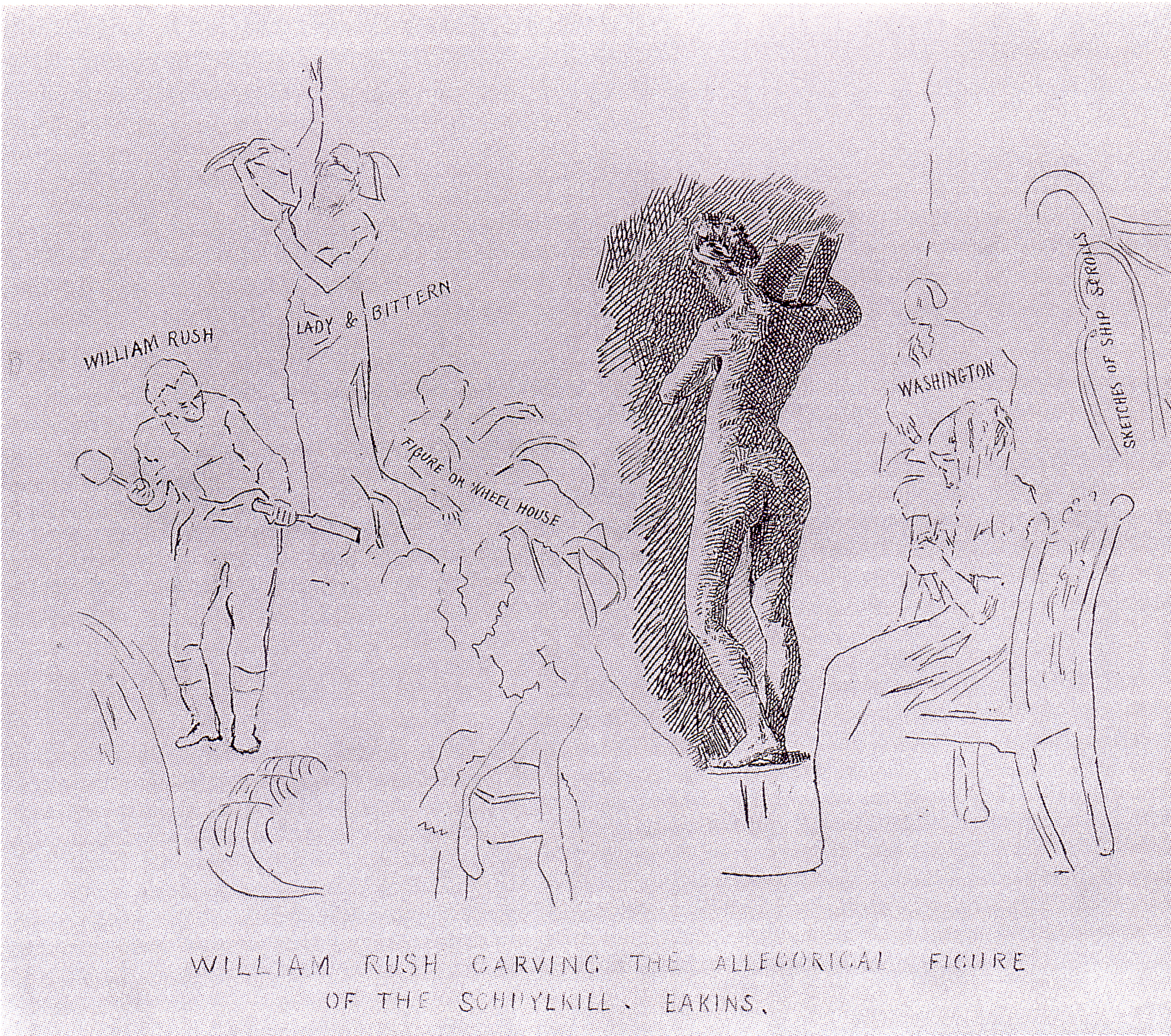 File:drawing after william rush carving his allegorical figure of the
