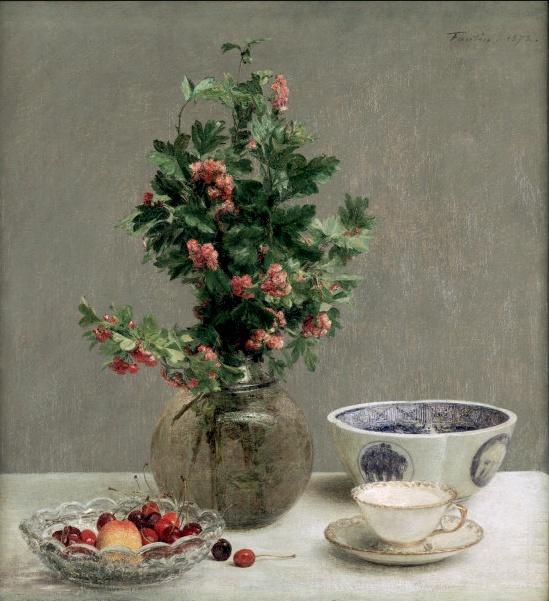 Fantin Latour Vase of Hawthorn Bowl of Cherries Japanese Bowl Cup Saucer.jpg