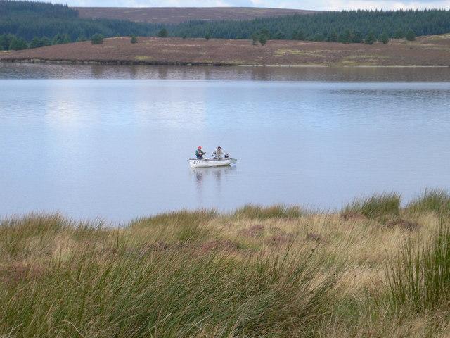 Fly fishing on the Brenig reservoir - geograph.org.uk - 966217