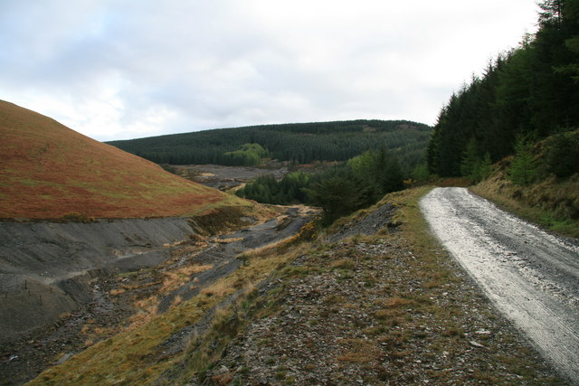Forest road beside the Nant Bai - geograph.org.uk - 783328