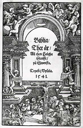 Title page of the Swedish Gustav Vasa Bible, translated by the Petri brothers, along with Laurentius Andreae Gustav Vasa Bible 1541.jpg
