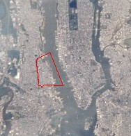 Image of Hoboken taken by NASA, with Hoboken outlined in red