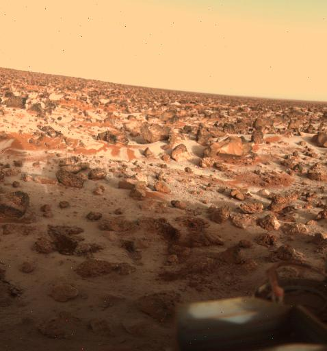 Ice on Mars Utopia Planitia. This high-resolution color photo of the surface of Mars was taken by Viking Lander 2 at its Utopia Planitia landing site on May 18, 1979, and relayed to Earth by Orbiter 1 on June 7. It shows a thin coating of water ice on the rocks and soil
