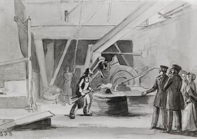 File:Interiör av vallonsmedja vid Gimo bruk. Fritz von Dardel, 1838 -  Nordiska
