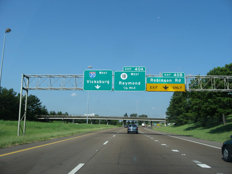 File:Interstate 20 Westbound, Near Raymond, Mississippi
