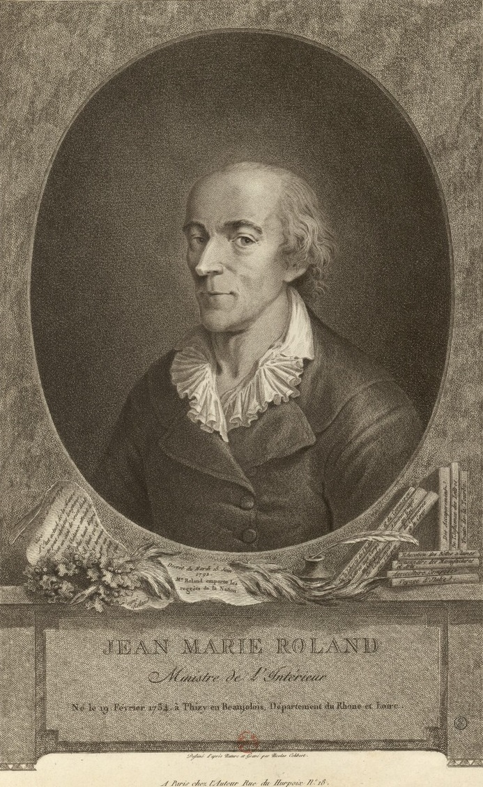 ''Jean Marie Roland, Minister of the Interior''. Engraving by Nicolas Colibert, 1792-1793.