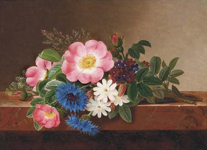 Johan Laurentz Jensen - Sommerblomster på en marmorkarm - 1844.png