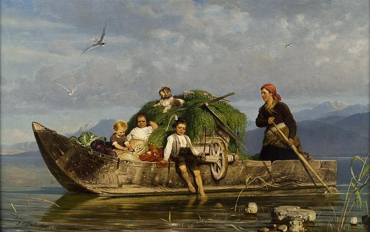 Johann Friedrich Engel - Ruderboot mit Bauern