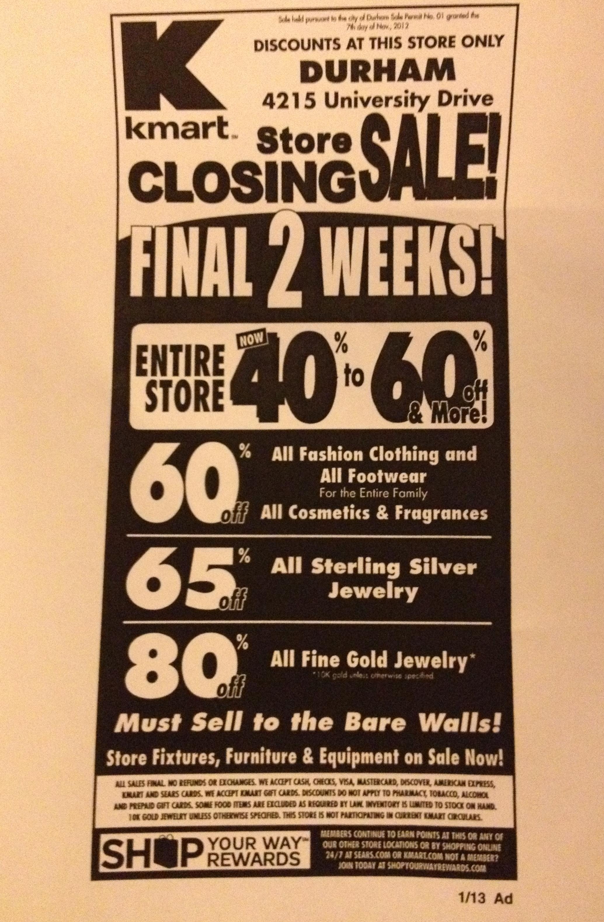 FileKmart Store Closing Flyer Durham NC 8399856295