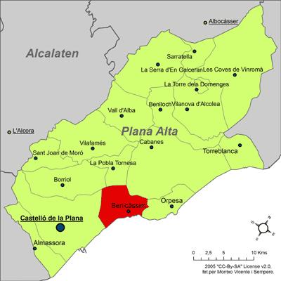 Cartina Spagna Benicassim.File Localitzacio De Benicassim Respecte De La Plana Alta Png Wikimedia Commons