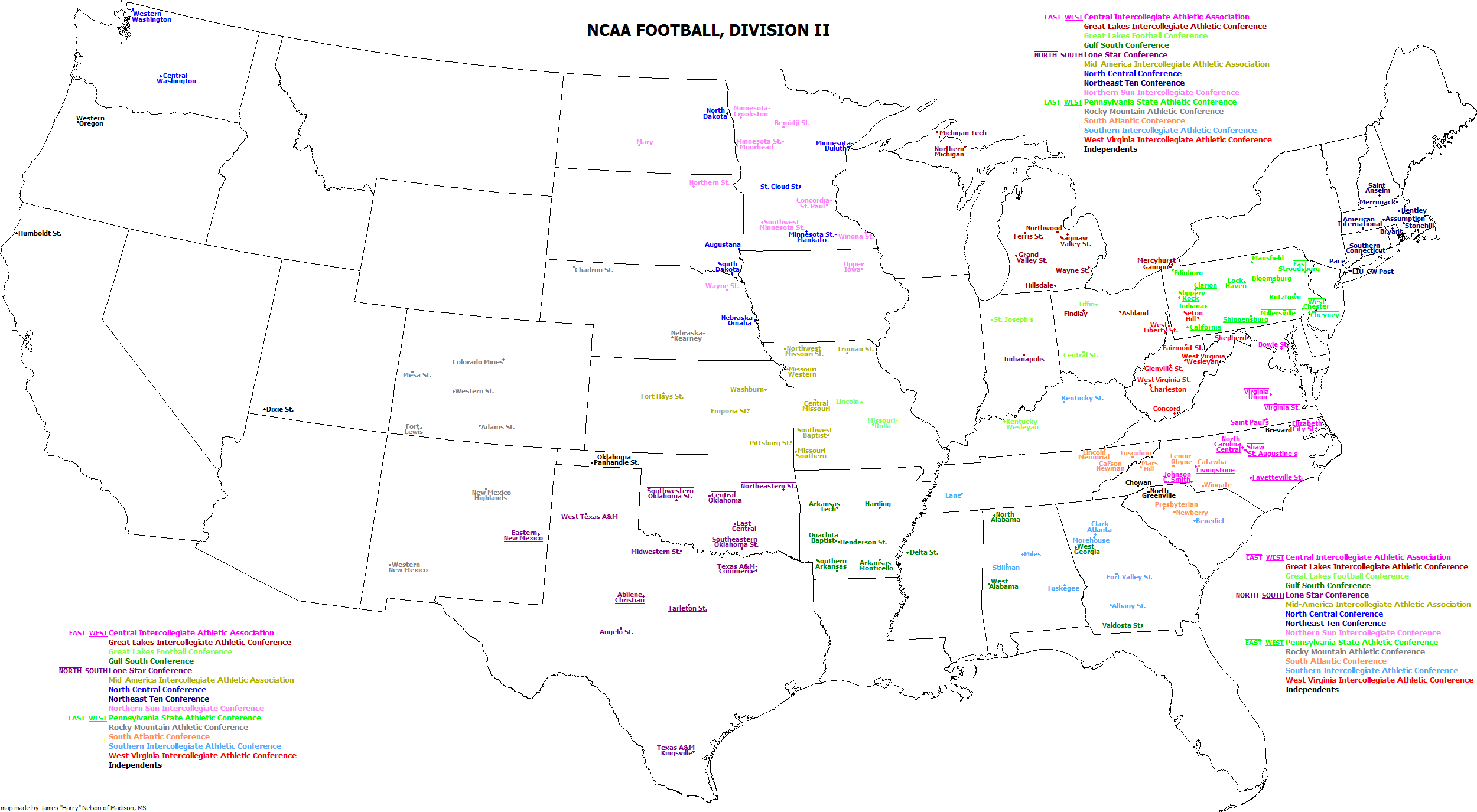 File:Map of National Collegiate Athletic Association Division II