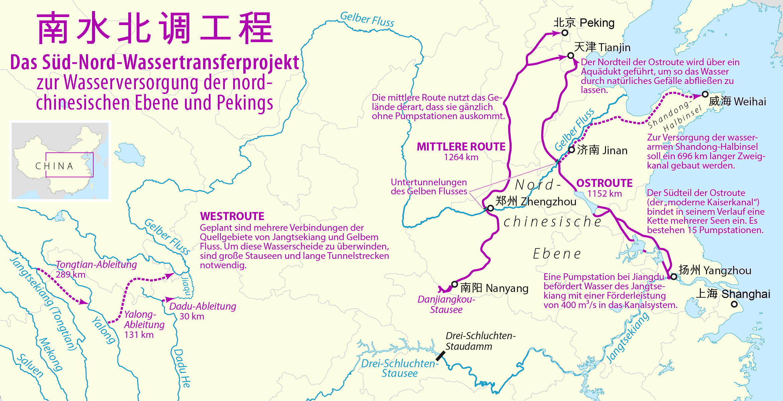 kaiserkanal china karte Süd Nord Wassertransferprojekt – Wikipedia