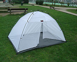 Tent made of mosquito netting.