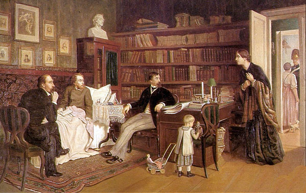 Nekrasov and Panaev visiting sick Belinsky 1881