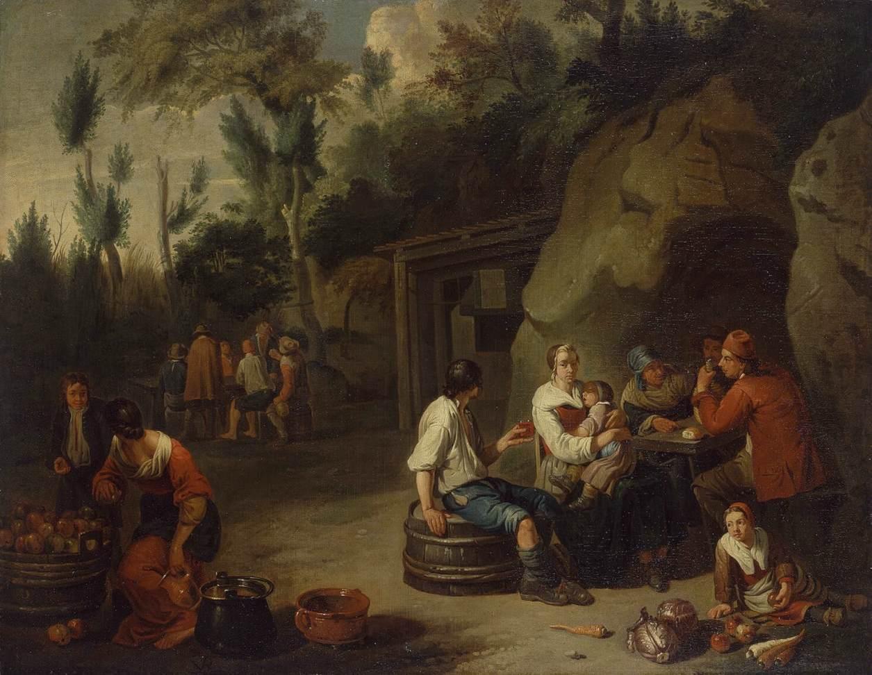 File:Norbert van Bloemen - Peasant Family Sitting at a ...
