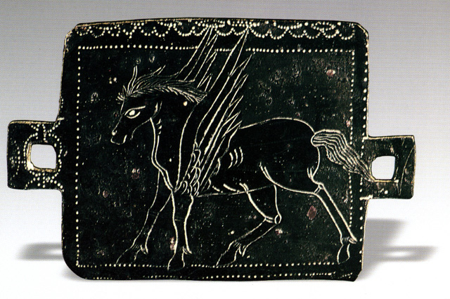 Parthian era bronze plate depicting Pegasus (