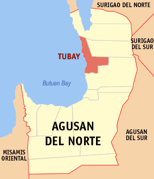 Map of Agusan del Norte showing the location of Tubay