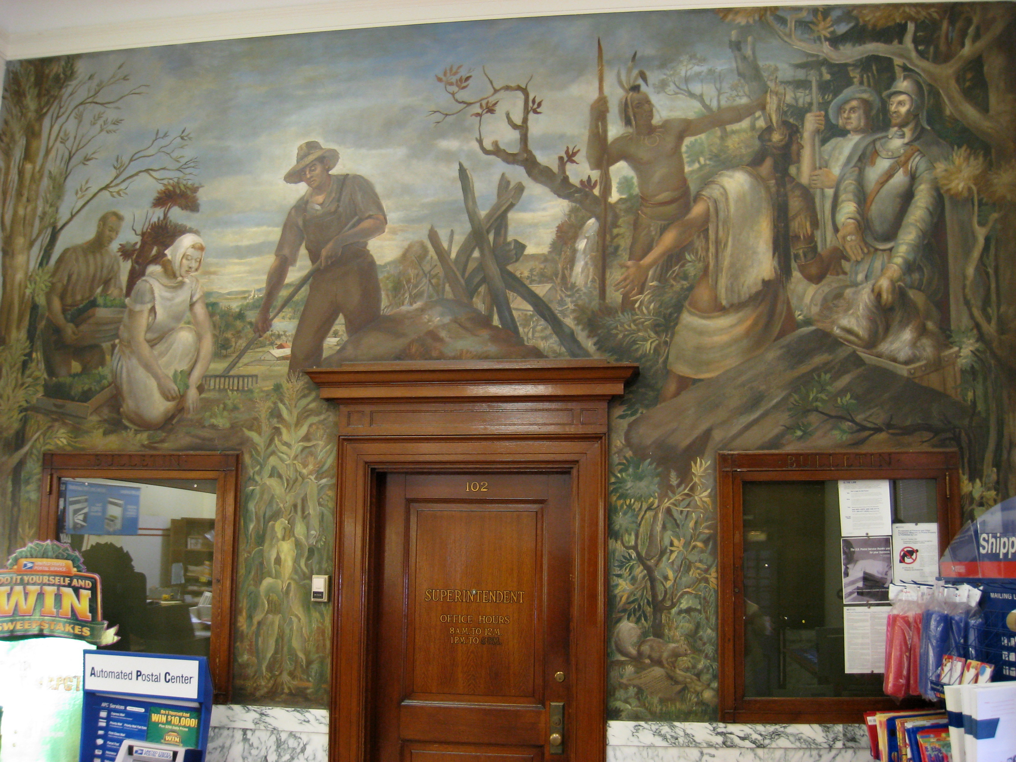 File:Post Office WPA mural - Arlington, MA.JPG - Wikimedia