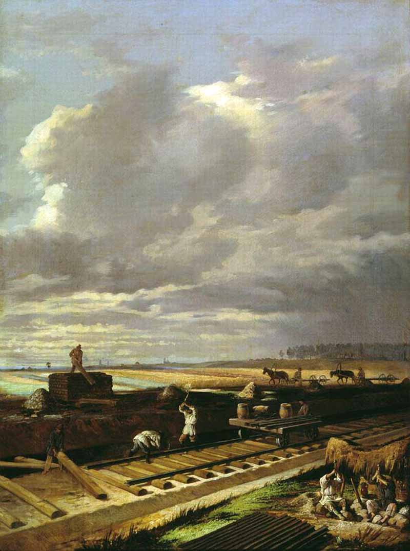 Building the Railway, Vasili Pukirev, 1870