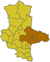 Map of Saxony-Anhalt highlighting the former Regierungsbezirk of Dessau