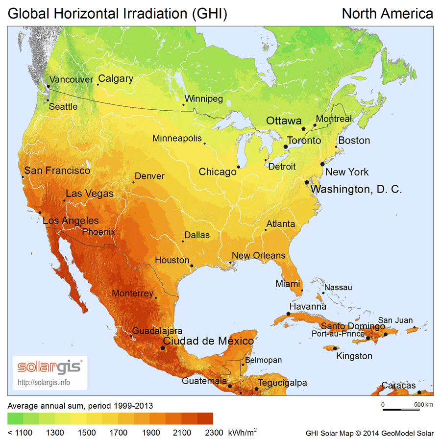 Solar Power In Canada Wikipedia - Solar power map us
