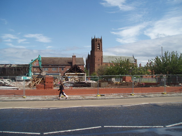 The Catholic Church of St James's, Chestnut Grove, Marsh Lane, Bootle The apparent permanence of St James's Church in the background contrasts notably with the foreground scene in which the remaining structures of what was once St James's Secondary school await their demolition.