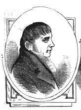 A drawing of a heavyset young man, who faces towards the right