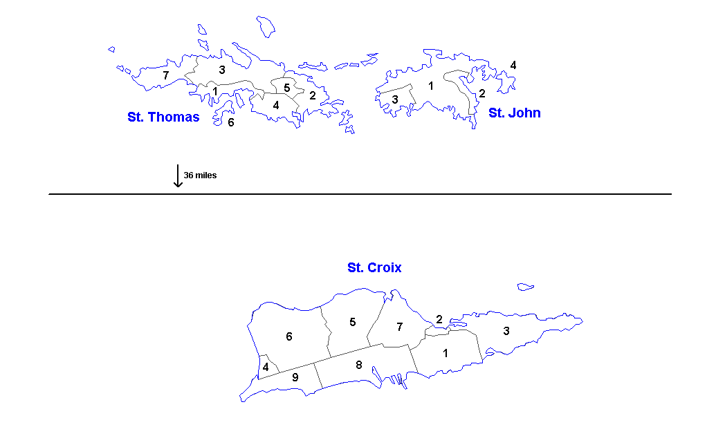 Districts and subdistricts of the United States Virgin Islands