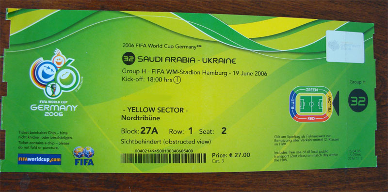 germany 2006 ticket: