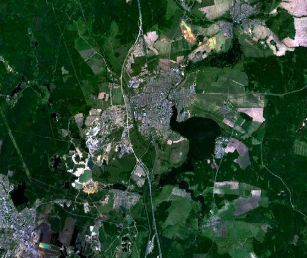 Вид из космоса на Невьянск и окрестности