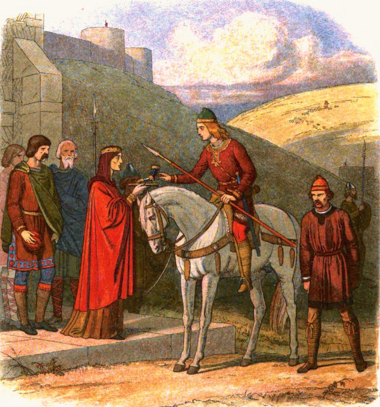 James William Edmund Doyle (1822-92): Edvard Martyren får et beger mjød av Elfrida mens snikmorderen venter