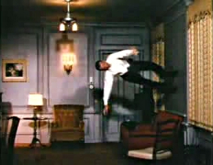 Fred Astaire dances on the walls and ceiling in Royal Wedding, a special effect using a rotating reinforced-steel cylindrical chamber in which to film.