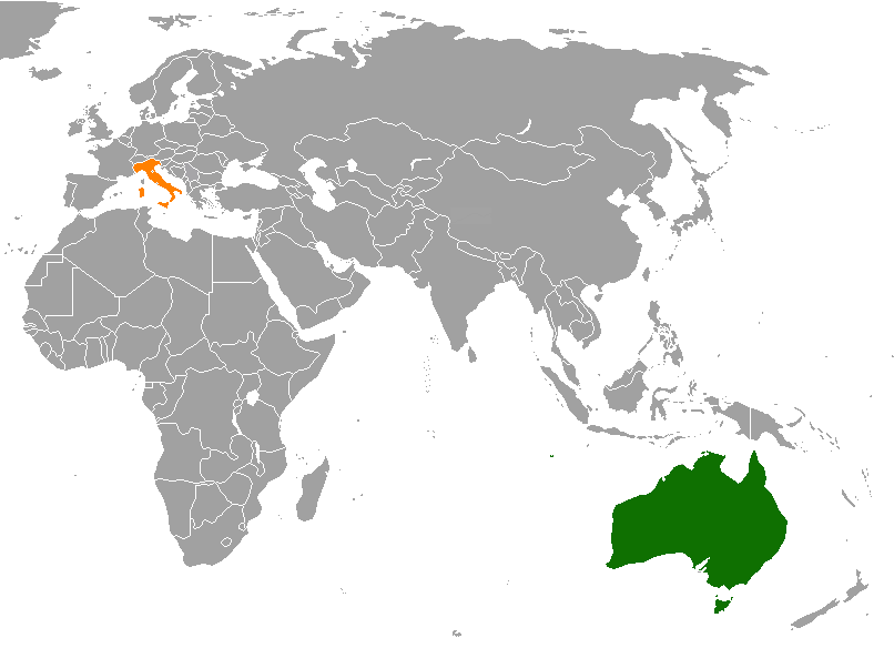 AustraliaItaly Relations Wikipedia - Australia in world map