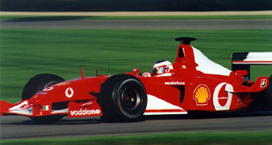 Barrichello in his Ferrari at the 2002 United States Grand Prix