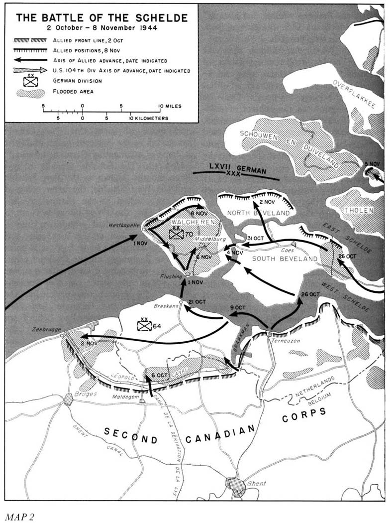 Battle of the Scheldt map showing the situation of 2 November 1944