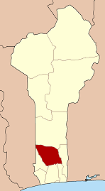 Map of Benin highlighting Zou department